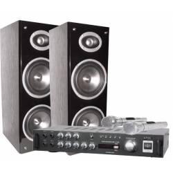 Karaoke set LTC * 2x20W zosilňovač s USB/MP3/Bluetooth * stereo reproduktory * 2x mikrofón
