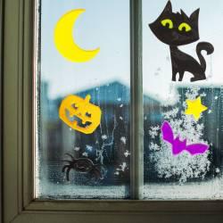 Gélová dekorácia na okno - halloween 12 ks / balenie
