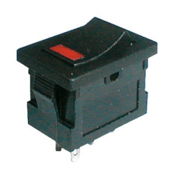 Prepínač kolískový 2pol./4pin ON-OFF 250V/3A LED červený