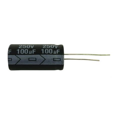 Kondenzátor elektrolytický 100M/250V 16x30-7.5 105*C rad.C