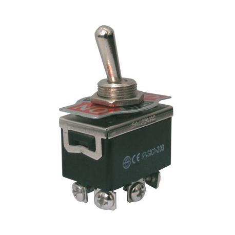 Prepínač páčkový 3pol./6pin ON-OFF-ON 250V/10A šroub.