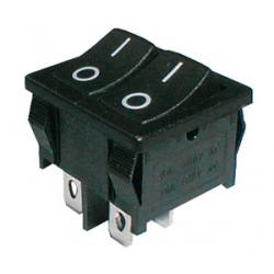 Prepínač kolískový 2x(2pol./2pin) ON-OFF dvojitý čierny O-I 12V