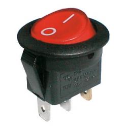 Prepínač kolískový okrúhly pros. 2pol./3pin ON-OFF 250V/6A červený