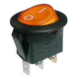 Prepínač kolískový okrúhly pros. 2pol./3pin ON-OFF 250V/6A žltý