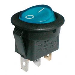 Prepínač kolískový okrúhly pros. 2pol./3pin ON-OFF 250V/6A modrý