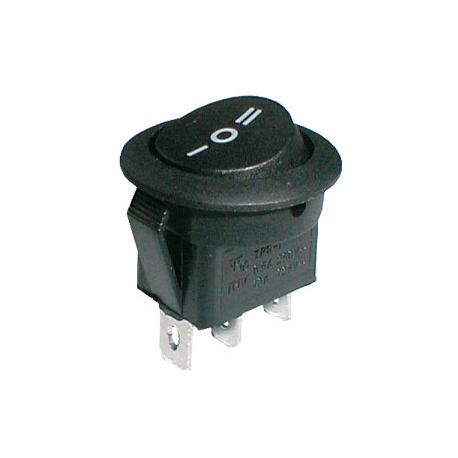 Prepínač kolískový okrúhly 3pol./3pin ON-OFF-ON 250V/6A čierny