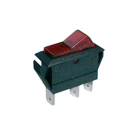 Prepínač kolískový 2pol./3pin ON-OFF 20A/12VDC pros. červený