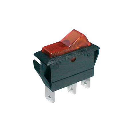 Prepínač kolískový 2pol./3pin ON-OFF 20A/12VDC pros. žltý