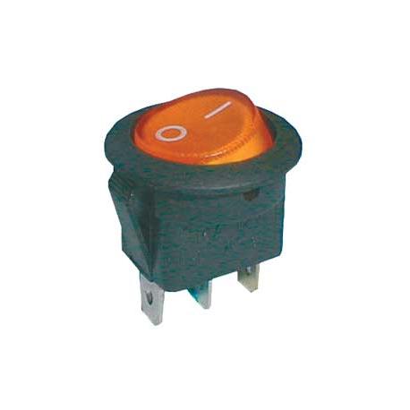 Prepínač kolískový okrúhly pros. 2pol./3pin ON-OFF 16A/12VDC žltý