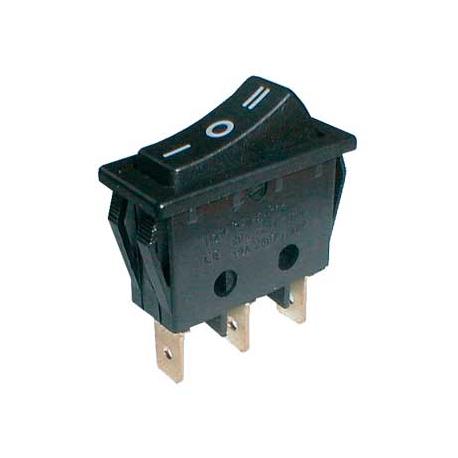 Prepínač kolískový 3pol./3pin (ON)-OFF-(ON) 250V/15A čierny