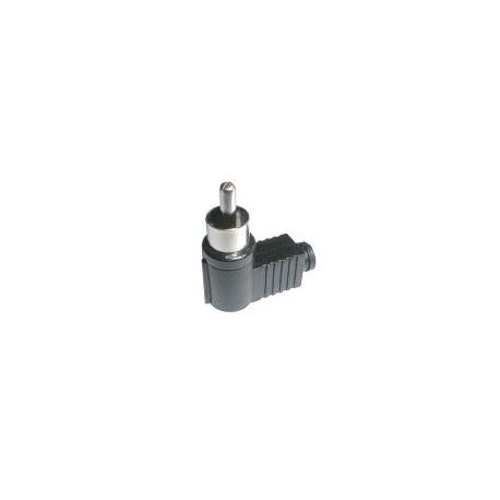 Konektor CINCH kabel plast uhlový čierny