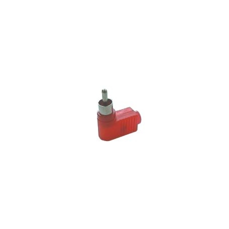 Konektor CINCH kabel plast uhlový červený