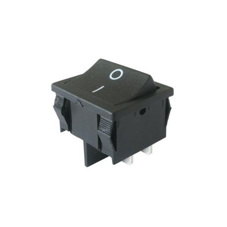 Prepínač kolískový 2pol./4pin ON-OFF 250V/6A čierny