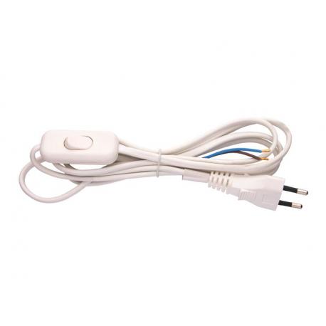 Flexo šnúra PVC 2x0,75mm 2m biela s vypínačom