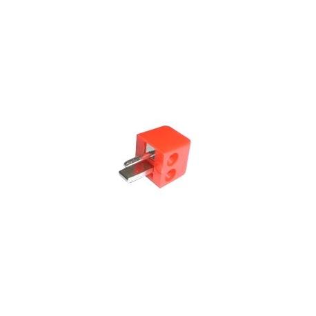 Konektor repro skrutkovacie uhlový červený