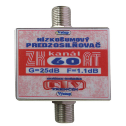 Anténny zosilňovač RTV ELEKTRONICS ZK60AT 25dB F-F