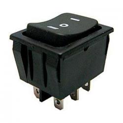 Prepínač kolískový 3pol./6pin (ON)-OFF-(ON) 250V/15A čierny
