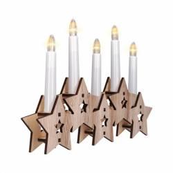 LED svietnik hviezdy, drevený, 5x LED, 2x AA 1V222
