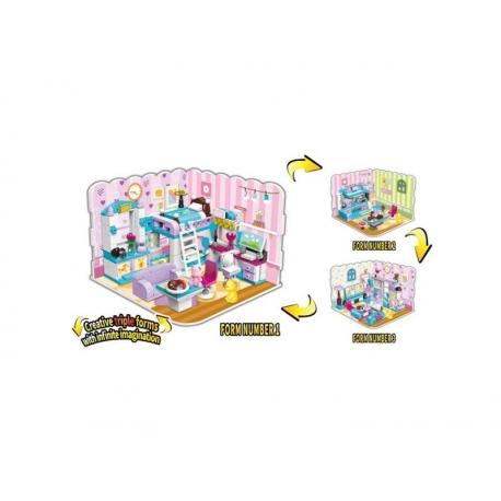 Stavebnica QMAN Neobmedzené nápady 4801 Dievčenská izba 3v1